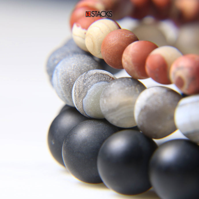 Red River Jasper, Druzy Agate, Black Onyx
