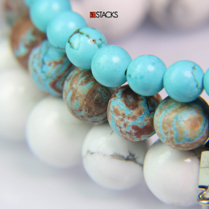 Turquoise Howlite, Crazy Lace Agate and White Howlite. NEW!