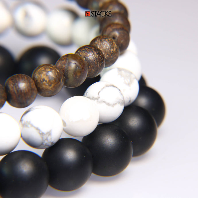 Bronzite, White Howlite and Onyx. NEW!