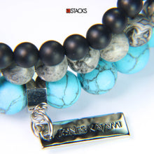Onyx, Crazy Leaf Agate and Turquoise Howlite.