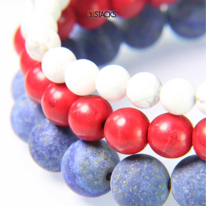 White Howlite, Red Howlite and Matte Lapis