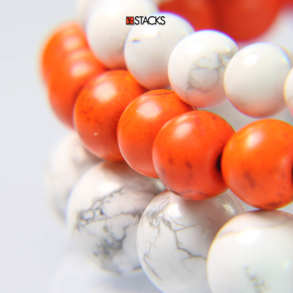 White Howlite, Orange Howlite and White Howlite