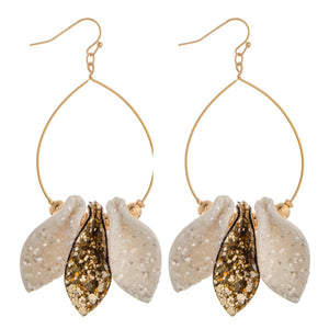 Ivory & Gold Sparkle Leather Drop Earrings