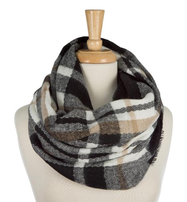 Infinity Scarf - Black Brown Ivory Plaid