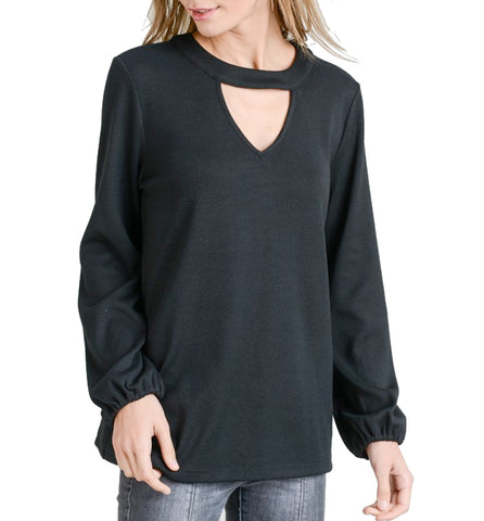 Charming Cut Out Bubble Sleeve Top