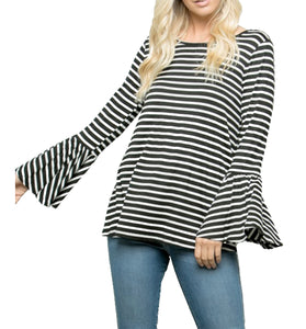 Cute Long Bell Sleeve Stripe Top