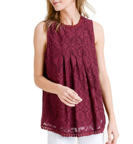 Charming Sleeveless Lace Top
