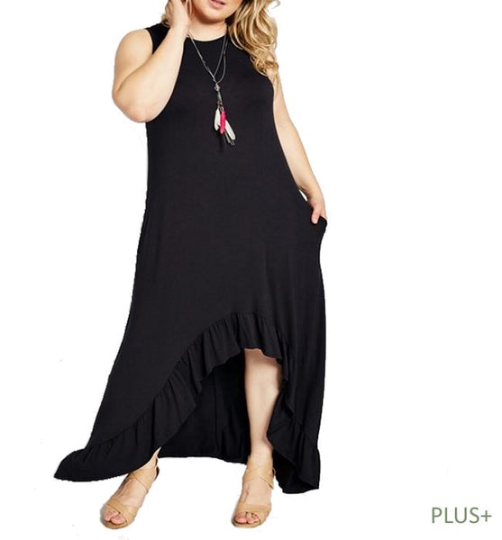 Black Hi-Lo Tank Maxi Dress- Plus