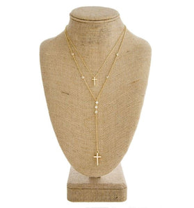 Dainty Layered Necklace with Rhinestone and Cross Detail