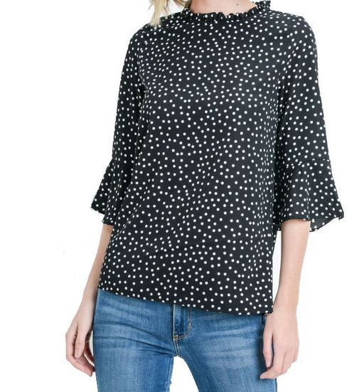 Polka Dot Black Blouse