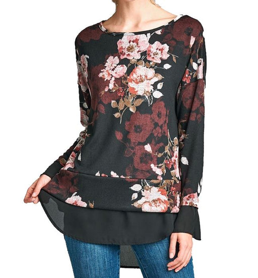 Black Floral Top with Black Blouse Underneath