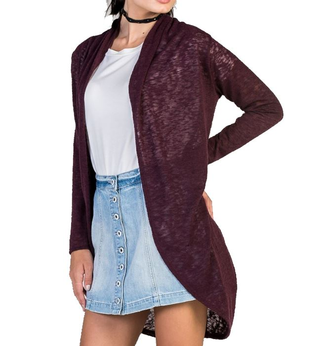 Open Front Knit Cardigan - Wine