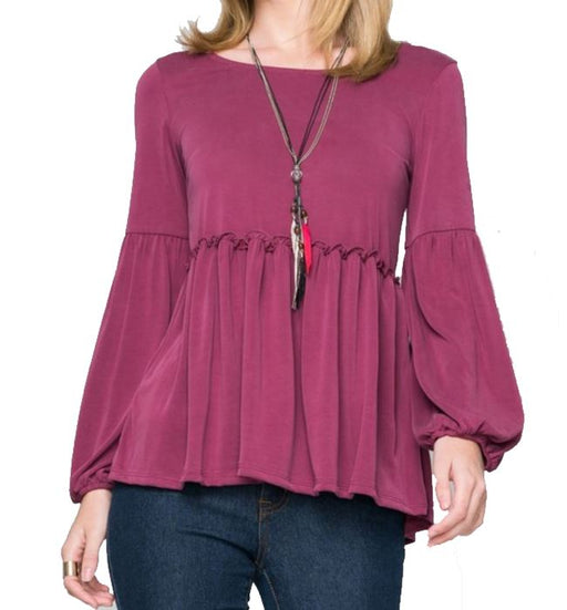 Dark Wine Empire Waist Elastic Balloon Sleeve Top