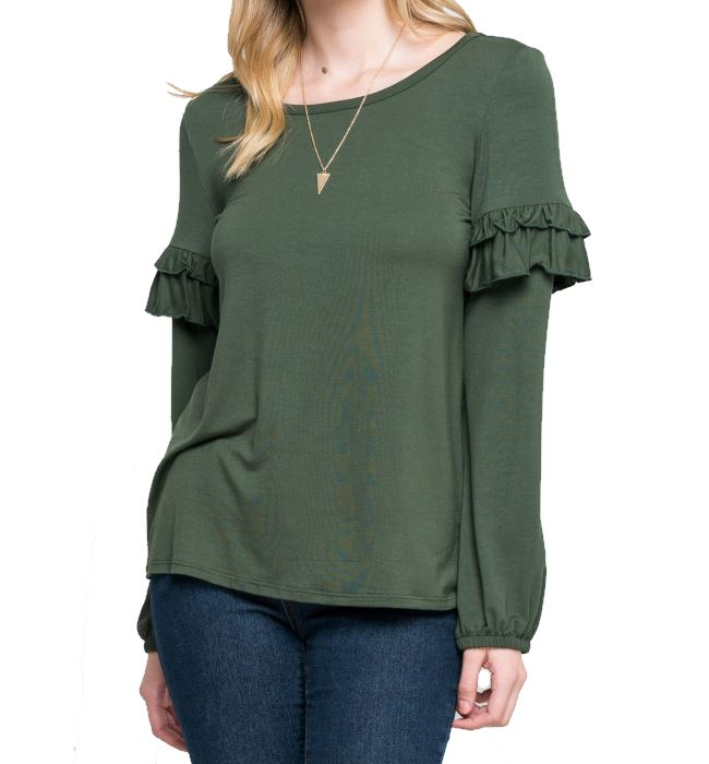 Ruffle Sleeve Detail Top - Olive