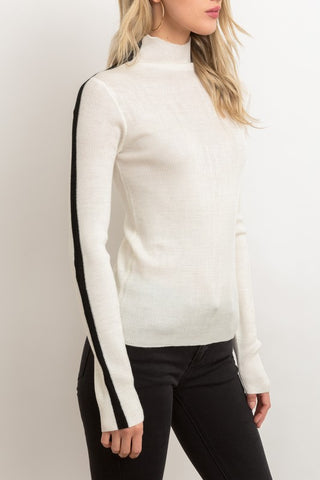 Lightweight Color Block Mock Turtleneck