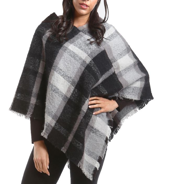 Black and White Plaid Poncho