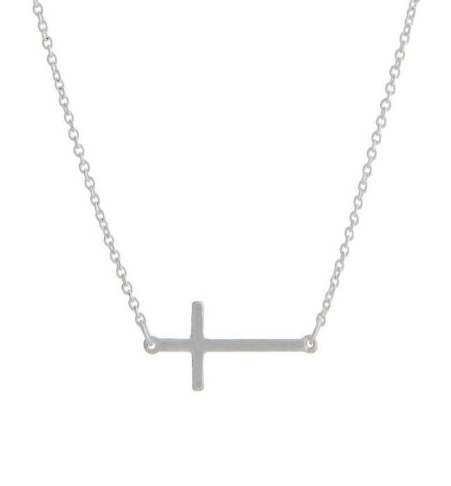 Horizontal Cross Necklace- Silver
