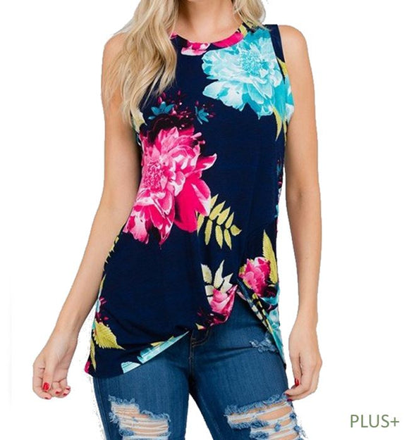 Sleeveless Navy Floral Top with Twist Knot- Plus