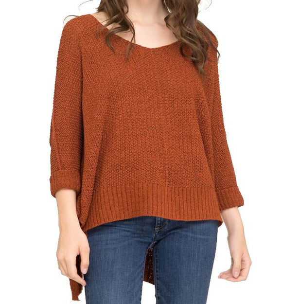 Rust 3/4 Sleeve Hi-Lo Sweater with Folded Cuffs