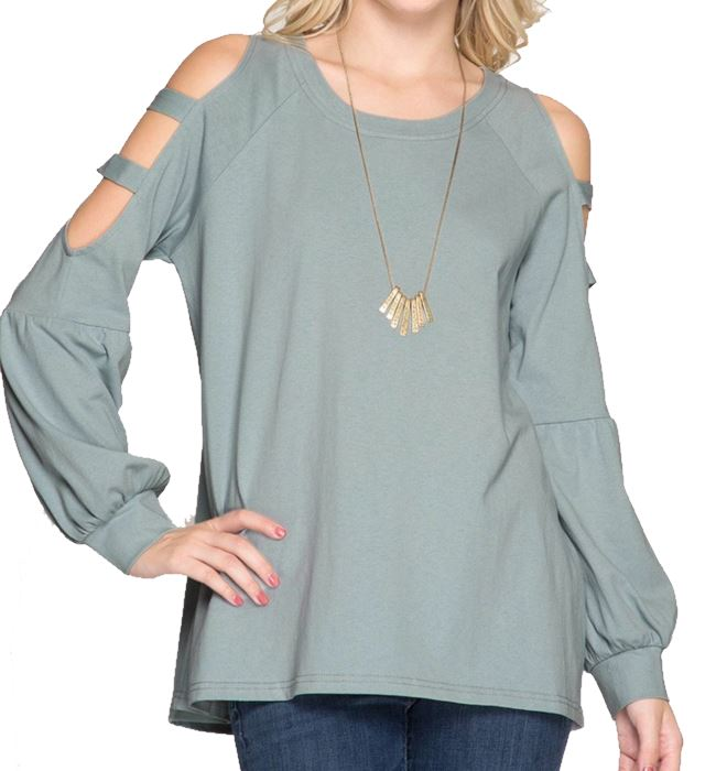 Slate Long Balloon Sleeve Top with Cut Out Detail on Sleeve