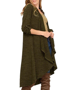 Roll Up Sleeve Open Front Long Knit Cardigan