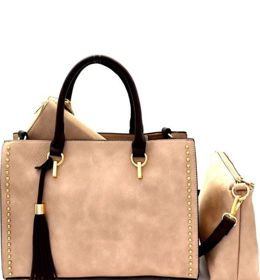 Tassel Accent Studded 3 in 1 Satchel