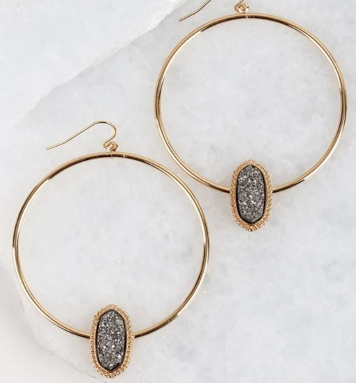 Druzy Accented Circle Hook Earrings