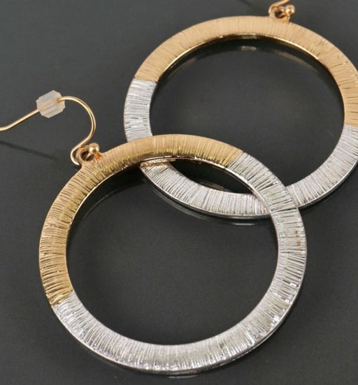 Two Toned Textured Circle Hook Earrings - Rose Gold & Silver