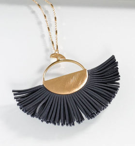Long Gold Necklace with Fringe