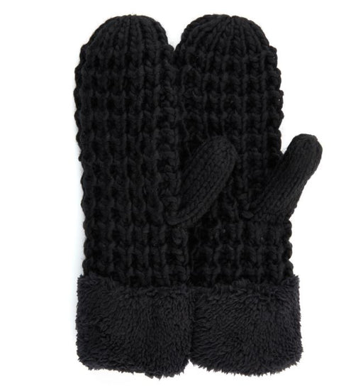 Chunky Knit Sherpa Trim Mitten with Fleece Lining
