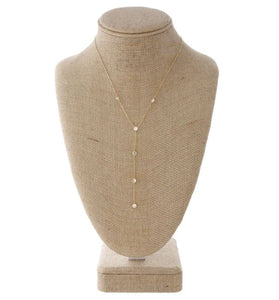 Dainty Y Necklace with Rhinestone Details- Gold