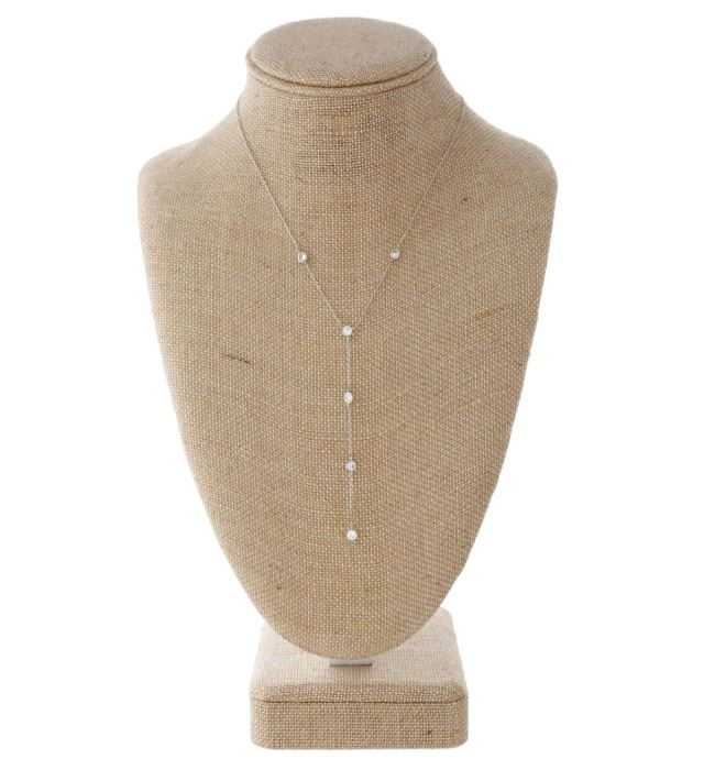 Dainty Y Necklace with Rhinestone Details- Silver