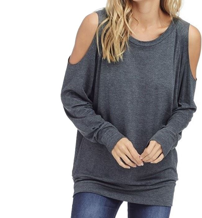 4b4e6d4a173 French Terry Relaxed Cold Shoulder Crew Neck Sweatshirt — Haven Boutique