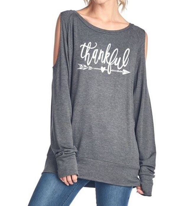 Thankful Long Sleeve Cold Shoulder Top