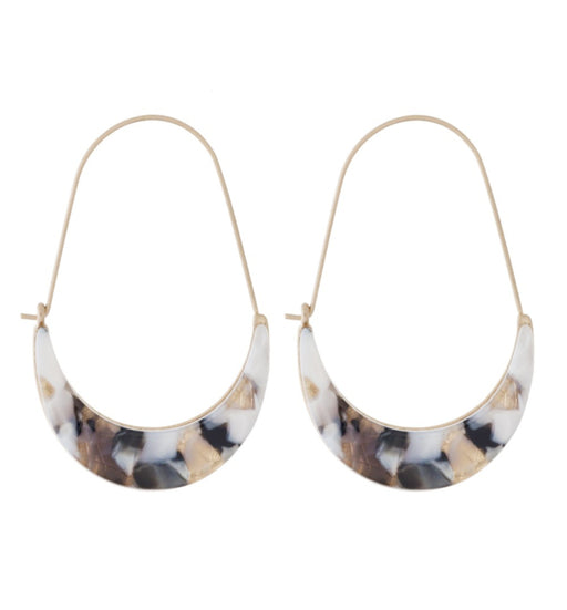 Gold Earrings with Acetate Detail