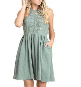 Halter Neck Dress - Avocado Green