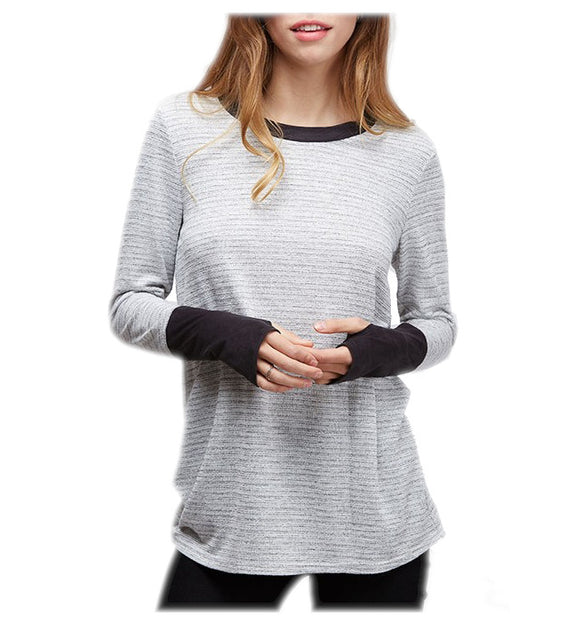 Casual Hacci Knit Top With Thumb Inserts
