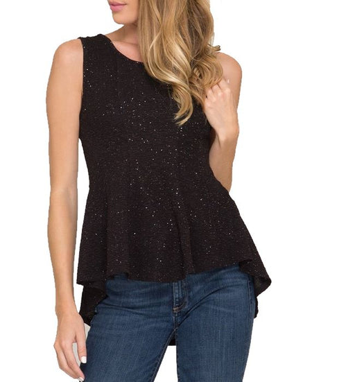 Sleeveless Glitter Knit Fit and Flare Top