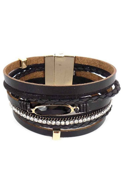 Layered Multi Strand Leather Bracelet With Crystal