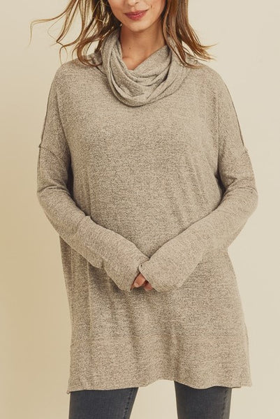 Long Sleeve Cowl Neck Tunic With Side Slit