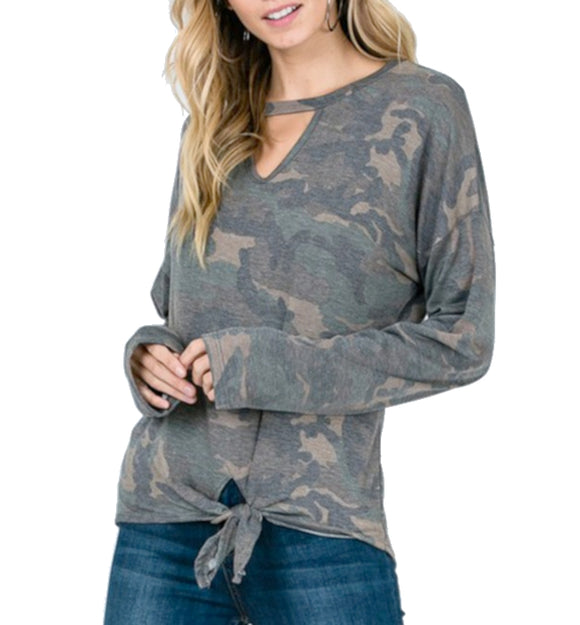 Trendy Camo Print Keyhole Tie Front Top