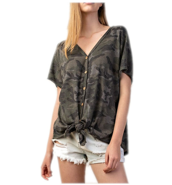 Waffle Camouflage Button Down Tie Front Knit Top