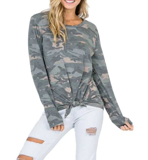 Cute Long Sleeve Camo Tie Front Top
