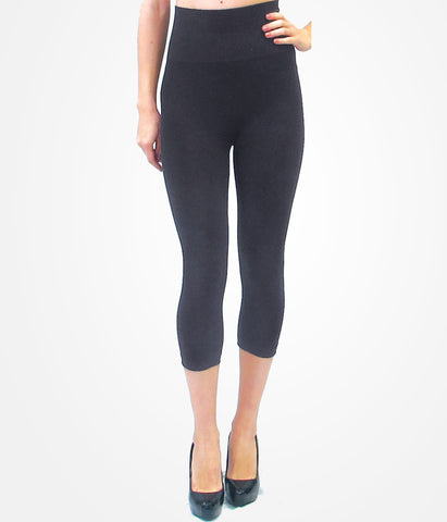 Cropped High Waisted Leggings - Charcoal