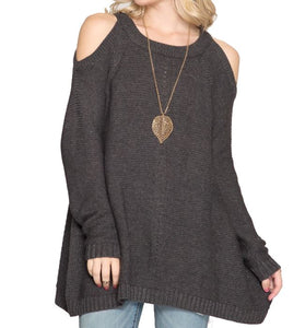 Charcoal Long Sleeve Cold Shoulder Sweater