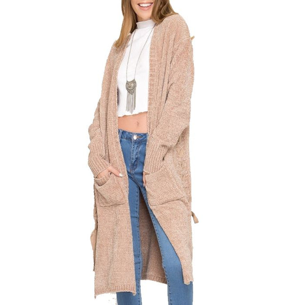 Long Sleeve Chenille Cardigan