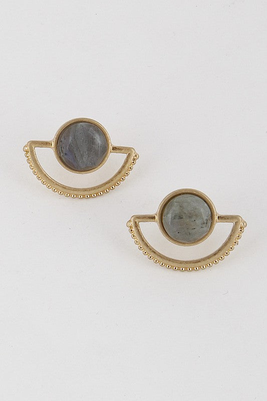 Crescent Dot Stud Earrings