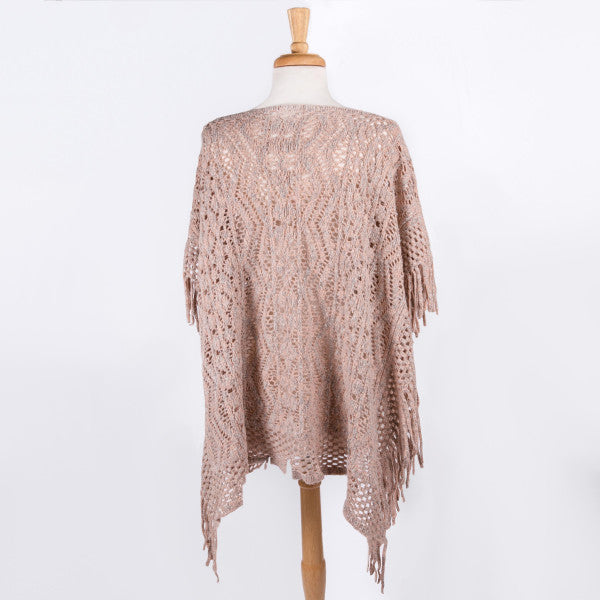 Two Tone Knit Poncho With Fringe