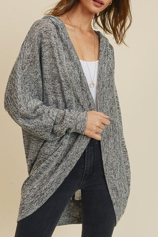 Hooded Dolman Sleeve Cardigan