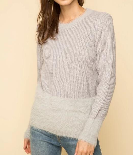 Pretty Faux Fur Hem Sweater